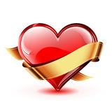 Corazón del vector con la cinta de oro stock de ilustración