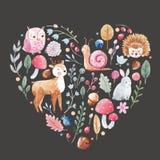 Corazón del vector de la acuarela con los animales Foto de archivo libre de regalías