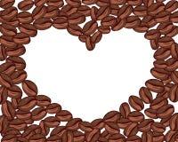 Corazón del vector de los granos de café en el fondo blanco Espacio para su texto libre illustration
