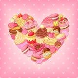 Corazón del vector de los postres en fondo rosado Decoración del día de StValentines Foto de archivo