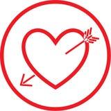 Corazón del vector e icono de la flecha Imagen de archivo libre de regalías
