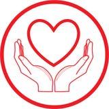 Corazón del vector e icono de las manos Fotografía de archivo