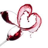 Corazón del vino rojo Fotografía de archivo