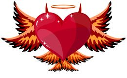 Corazón diabólico con los cuernos y las alas Fotos de archivo libres de regalías