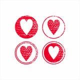 corazón dibujado en el estilo de grunge impresión para la decoración de la ropa Imágenes de archivo libres de regalías