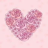 Corazón dibujado mano del vintage de flores Fotografía de archivo libre de regalías