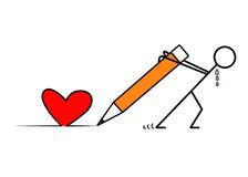Corazón dibujado vector del hombre con el lápiz ilustración del vector