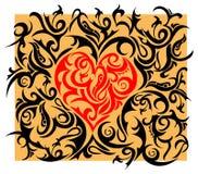 Corazón-dimensión de una variable con el ornamento tribal Stock de ilustración