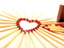 Corazón-dimensión de una variable del Matchstick Imágenes de archivo libres de regalías
