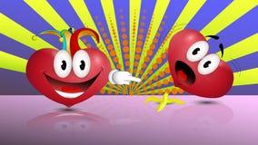 Corazón divertido Comodines del corazón para el día de los inocentes stock de ilustración