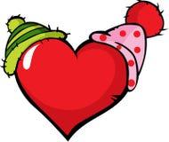 Corazón divertido con el casquillo dos - vector el ejemplo Imagenes de archivo