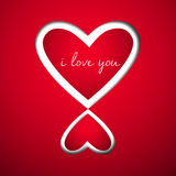Corazón dos al amor en el papel rojo Fotos de archivo