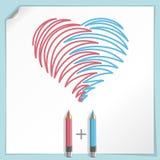 Corazón drenado mano ilustración del vector