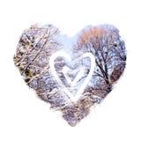 Corazón drenado mano abstracta Fondo de la tarjeta del día de San Valentín Diseño del corazón del amor Collage de la foto con las stock de ilustración