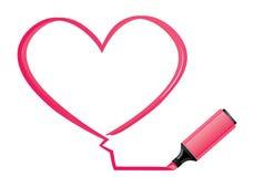 Corazón e highlighter rosados stock de ilustración