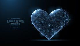 Corazón El arte poligonal abstracto de la malla del wireframe parece la constelación Día de San Valentín, saludo, salud, cardiolo Foto de archivo libre de regalías