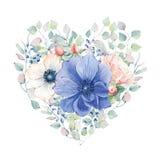 Corazón elegante del día de tarjetas del día de San Valentín de las flores de la acuarela Foto de archivo libre de regalías