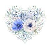 Corazón elegante del día de tarjetas del día de San Valentín de las flores de la acuarela Imagenes de archivo