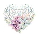 Corazón elegante del día de tarjetas del día de San Valentín de las flores de la acuarela Imagen de archivo