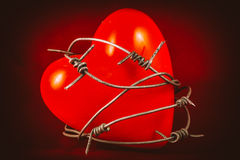 Corazón en alambre de púas en el rojo 1 Imágenes de archivo libres de regalías