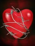 Corazón en alambre de púas en el rojo 2 Fotos de archivo libres de regalías