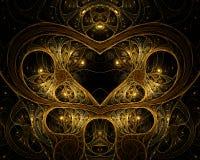 Corazón en alambre del oro Foto de archivo