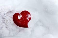 Corazón en brazos acogedores en fondo del invierno de la nieve Imágenes de archivo libres de regalías