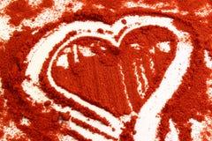 Corazón en chile rojo Fotos de archivo