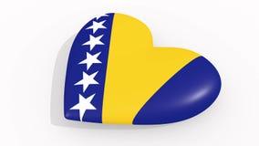 Corazón en colores y símbolos de Bosnia y Herzegovina en el fondo blanco, lazo