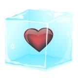 Corazón en cubos de hielo Foto de archivo