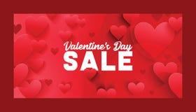 Corazón en día de San Valentín en muestra roja preciosa del vector del modelo del amor en el amor hearted del contexto de la tarj ilustración del vector