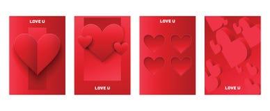 Corazón en día de San Valentín en muestra roja preciosa del vector del modelo del amor en el amor hearted del contexto de la tarj libre illustration