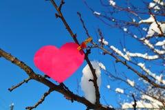 Corazón en el árbol Foto de archivo libre de regalías
