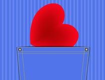Corazón en el bolsillo ilustración del vector