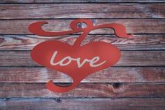 Corazón en el día de San Valentín de madera del backgroun del amor de la cerca 3d Fotografía de archivo libre de regalías