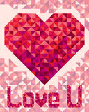 Corazón en el fondo ligero en estilo geométrico Imagenes de archivo