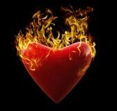 Corazón en el fuego Fotos de archivo