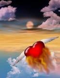 Corazón en el fuego Fotografía de archivo