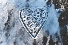 Corazón en el hielo Foto de archivo