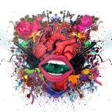 Corazón en fondo colorido floral con las pistolas ilustración del vector