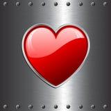 Corazón en fondo del metal ilustración del vector