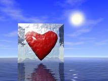 Corazón en hielo Imagen de archivo libre de regalías
