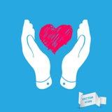 Corazón en icono plano de las manos Imágenes de archivo libres de regalías