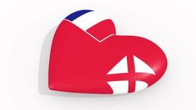 Corazón en la bandera de los colores de Wallis y de Futuna, lazo libre illustration