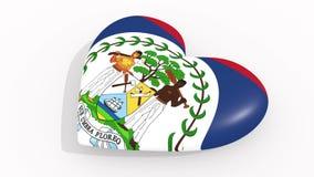 Corazón en la bandera de los pulsos de Belice, lazo de los colores ilustración del vector