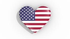Corazón en la bandera de los pulsos de los E.E.U.U., lazo de los colores stock de ilustración