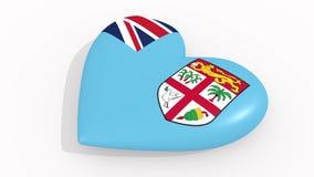 Corazón en la bandera de los pulsos de Fiji, lazo de los colores stock de ilustración