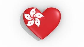 Corazón en la bandera de los pulsos de Hong Kong, lazo de los colores stock de ilustración