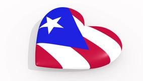 Corazón en la bandera de los pulsos de Puerto Rico, lazo de los colores stock de ilustración
