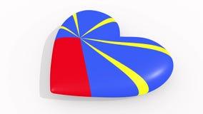 Corazón en la bandera de los pulsos de la reunión, lazo de los colores stock de ilustración